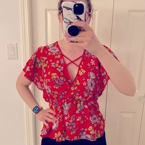 Faux wrap casual summer top with floral pattern